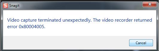 snagit error code 0x80004005